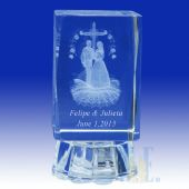 "Religious Crystal Wedding Favors 3"" High 4C067L"