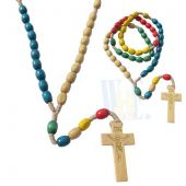 Childrens Wood Rosary-Multicolor JN212
