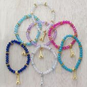 Crystal Bead Eiffel Tower Charm Fashion Bracelet JS169